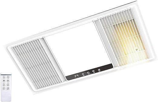 QIN Luz de Calentador de baño 3 en 1 con Control Remoto, Ventilador LED de extracción de Techo y combinación de Calentador de Aire, Panel eléctrico Unidad de calefacción y ventilación: Amazon.es: