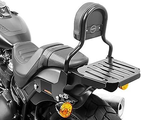 Sissy Bar Cl Mit Gepäckträger Kompatibel Für Harley Davidson Softail Fat Bob 18 19 Schwarz Auto
