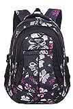 JiaYou Girl Flower Printed Primary Junior High University School Bag Bookbag Backpack(Style A Black,24 Liters)