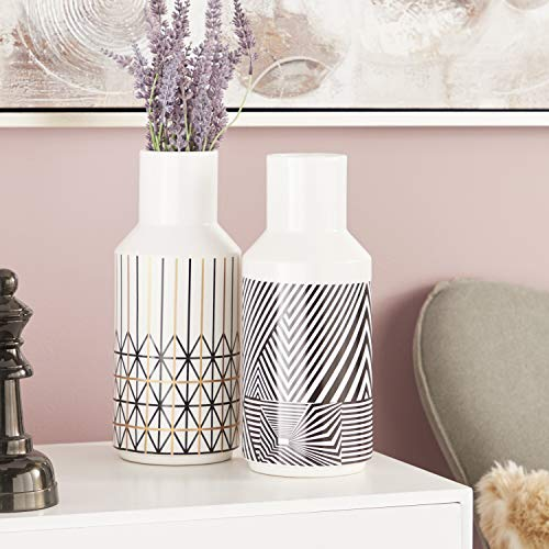 - CosmoLiving by Cosmopolitan 28650 Tall Eclectic Style White Decorative Vases with Black & Gold Boho Patterns | Set of 2: 5