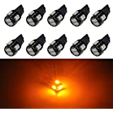 JDM ASTAR 10pcs Super Bright 5630 SMD 194 168 2825 W5W T10 LED Bulbs,Amber Yellow(Best Value in the market)