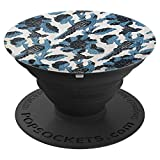 Blue-Resist Panel Dyed 18th Century Print Pattern Birds - PopSockets Grip and Stand for Phones and Tablets