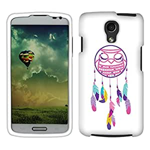 Fincibo (TM) LG Volt F90 LS740 Premium Hard Plastic Snap On Protector Cover Case - Owl Dream Catcher, Front And Back