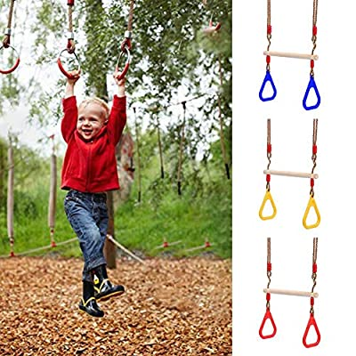 dissylove Fitness Rings Swing, Wooden Swing with Triangle Plastic Fitness Ring Children's Adult Fitness Ring: Sports & Outdoors