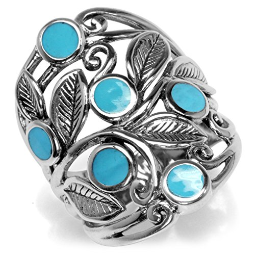 Created Blue Turquoise Inlay 925 Sterling Silver Filigree Leaf Ring Size 10
