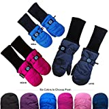 Chakka Snowblokka TM Kid's Snow Mittens Waterproof Nylon and made with 3m Thinsulate and Extra Long Sleeve Foldable Cover Up
