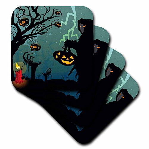 3dRose cst_152295_1 Halloween Scene with Grim Reaper with Pumpkins, Candle, and Skulls on a Scary Tree with Lightening-Soft Coasters, Set of 4]()