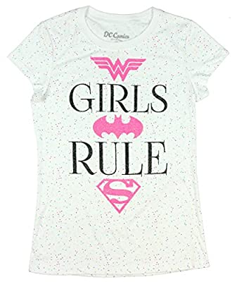 DC Super Hero Girls Power Glitter T-Shirt Featuring Wonder Woman, Batgirl & Supergirl