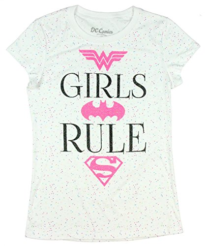 DC Super Hero Girls Power Glitter T-Shirt Featuring Wonder Woman, Batgirl & Supergirl (Small 6/6X) (Girls Glitter T-shirt)