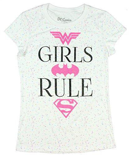 DC Super Hero Girls Power Glitter T-Shirt Featuring Wonder Woman, Batgirl & Supergirl (X-Small 4/5)