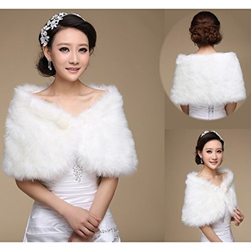 KAKA(TM Gorgeous Winter Bridal Wedding Dress Wrap Artificial Plush Shawl-White
