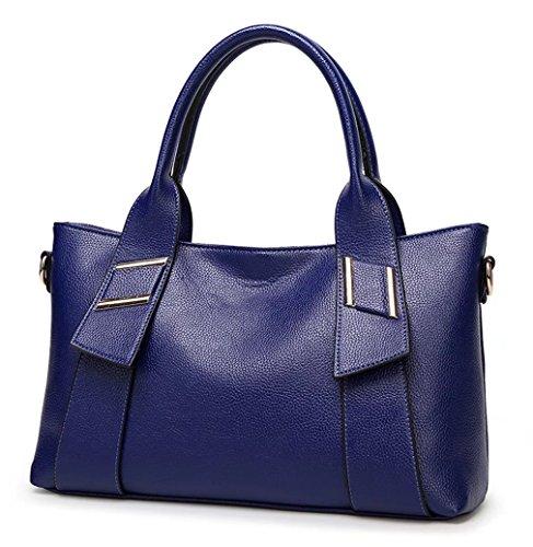 HopeEye mujer Tendencias de la moda Cuero De La Pu Bolso de mujer(dwpj21-1-Red wine) 4-azul