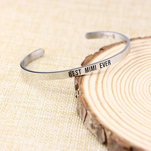 Joycuff Best Mimi Ever Bracelet Jewelry Gifts for Grandma Mantra Cuff Bracelets Bangle by Joycuff (Image #1)