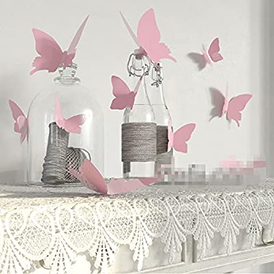 YINGKAI Mariposa in Gossip Girl 12pcs/pack Pink PVC 3D Decorative Butterflies Removable Wall Art Sticker For Home Decor And Wedding Party Decoration