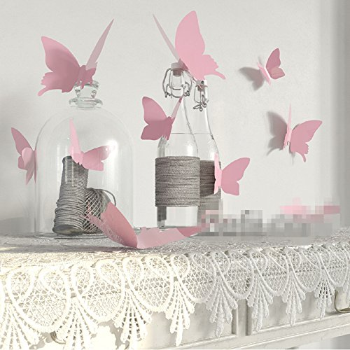 YINGKAI Mariposa in Gossip Girl 12pcs/Pack PVC 3D Decorative Butterflies Removable Wall Art Sticker for Home Decor and Wedding Party Decoration (Pink)