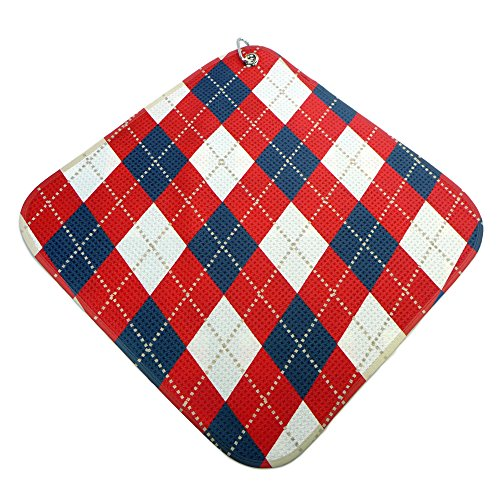 Argyle Golf Towel - Red-White-Blue-Argyle Print Microfiber Golf Towel by BeeJos