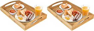 Greenco Rectangle Bamboo Butler Serving Tray with Handles - Pack of 2