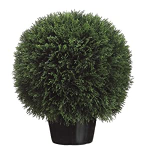 Silk Décor Cedar Ball Topiary in Pot, 20-Inch, Green 57