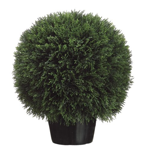 Silk Décor Cedar Ball Topiary in Pot, 20-Inch, ()