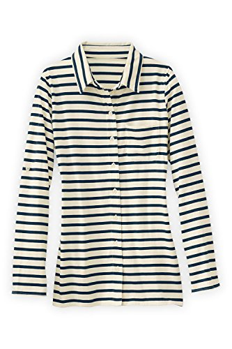 Fair Indigo Fair Trade Organic Relaxed Knit Button Down Shirt (Vanilla)