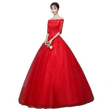 WJZ Vestido De Novia Rojo Vestido De Un Hombro La Novia De La Boda Vestido De
