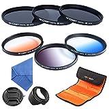 K&F Concept 62mm 6pcs Lens Filter Kit ND2 ND4 ND8 Neutral Density ND Filter Slim Graduated Color Blue Orange Gray For Sony Alpha A65 A77 A57 DSLR Camera with 18-250mm 18-135mm Lens + Microfiber Lens Cleaning Cloth + Flower Petal Lens Hood + Center Pinch L