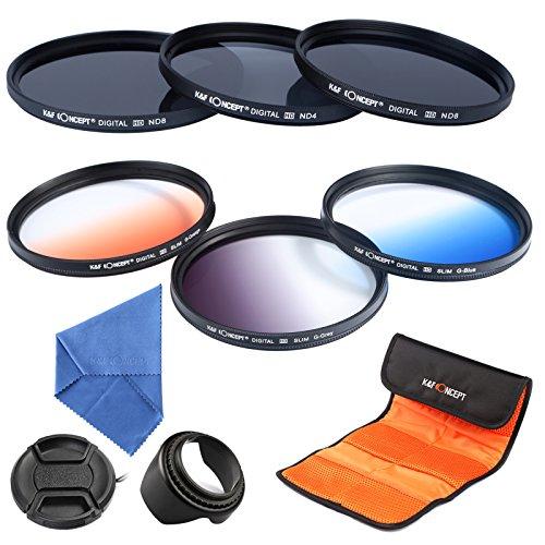 K&F Concept 62mm 6pcs Lens Filter Kit ND2 ND4 ND8 Neutral Density ND Filter Slim Graduated Color Blue Orange Gray For Sony Alpha A65 A77 A57 DSLR Camera with 18-250mm 18-135mm Lens + Microfiber Lens Cleaning Cloth + Flower Petal Lens Hood + Center Pinch L by K&F Concept