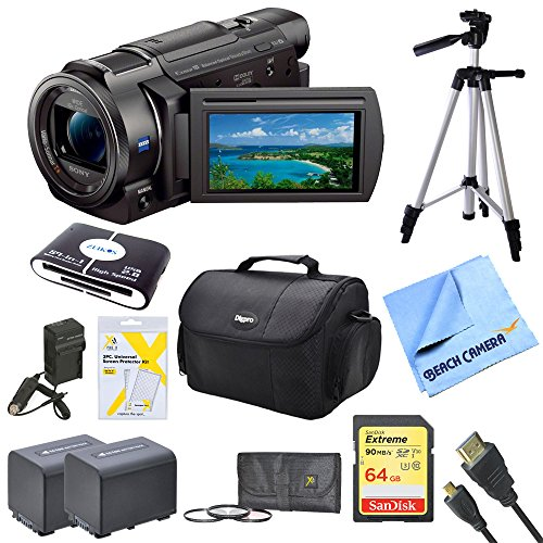 Sony FDRAX33 FDR-AX33 FDR-AX33/B AX33 4K HD Video Recording Handycam Camcorder Bundle 2 High Capacity Spare Batteries, 64GB SDXC Memory Card, Full Sized Tripod, Deluxe Case, AC/DC Charger & More