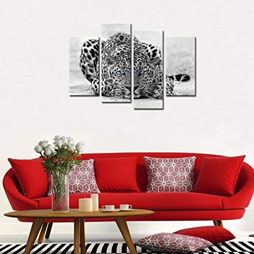 4 Panels Blue Eyed Leopard Painting Picture Printed on Canvas Animals Painting Giclee Artwork Stretched Framed Canvas Wall Art Home Decor