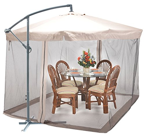 9X9 Offset Umbrella w/ Mesh Patio Offset Tilt Post Deck Gazebo Outdoor Shade Tan (Vancouver Curtains Cheap)