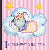 1st Birthday Guest Book: Pink Elephant Theme Cute 1st Birthday Party Guest Book Includes Gift Tracker and Picture Memory Section (First Birthday Celebrations Guest Books)
