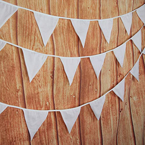 INFEI Solid White Double Layer Cotton Fabric Flags Bunting Banner Garlands for Wedding, Birthday Party, Outdoor & Home Decoration (10M/32Ft) (Pennant Fabric)
