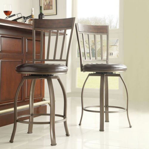 Keyaki Rustic Bronze Swivel Counter Height Stools (Set of 2)