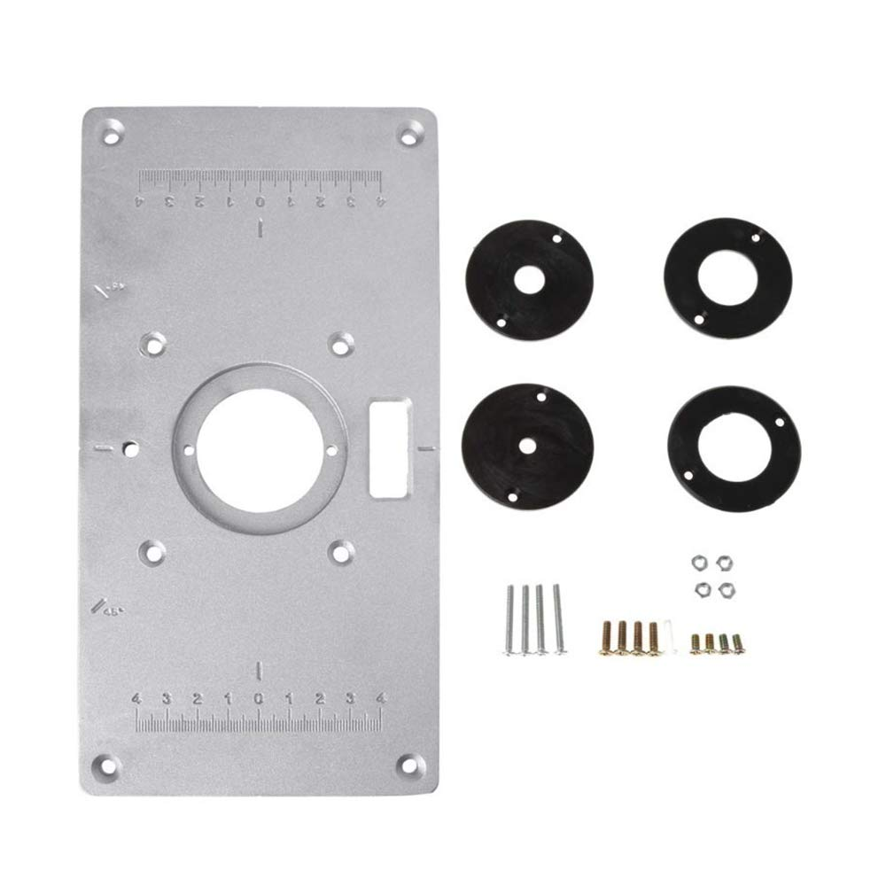 Aluminum Router Table Insert Plate with Rings Screws for Woodworking by NCElec
