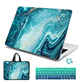 Batianda Laptop Sleeve with Handle Case for New MacBook Air 13 inch 2019 2018 with Retina Touch ID Model A1932 Keyboard Cover + Dust Plug (4 in 1 Bundle) Plastic Hard Shell (Green Quicksand)
