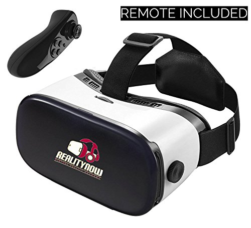 Virtual Reality Headset, RealityNow 3D Glasses VR Googles for Games and Video, Fits iPhone 7 Plus/ 6s Samsung Galaxy Series Other Phone and Tablet + Bluetooth Remote (Black) For Sale