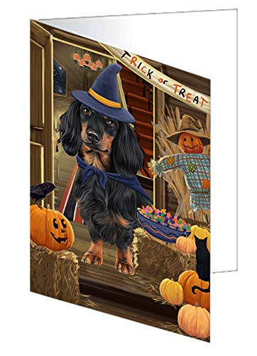 Enter at Own Risk Trick or Treat Halloween Dachshund Dog Note Card NCD63341 (10)]()