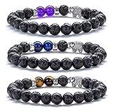 Hamoery Men Women 8mm Lava Rock Diffuser Bracelet Elastic Natural Stone Yoga Beads Bracelet Bangle,Elephant (3 Pcs Set2)