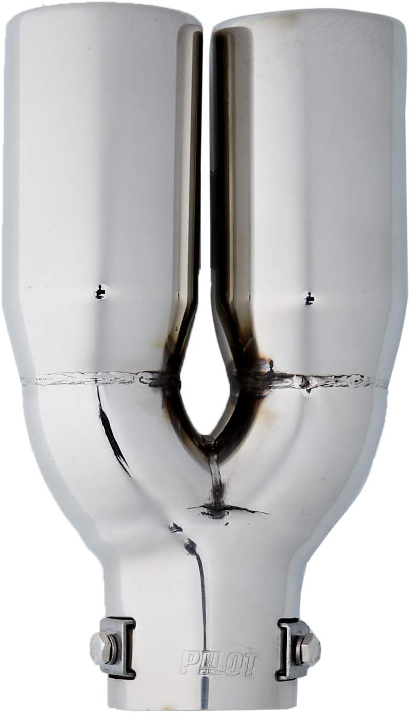 ER026 - Tubo de escape doble de acero inoxidable para atornillar, 225x63mm d=36-47mm, 1 unidad