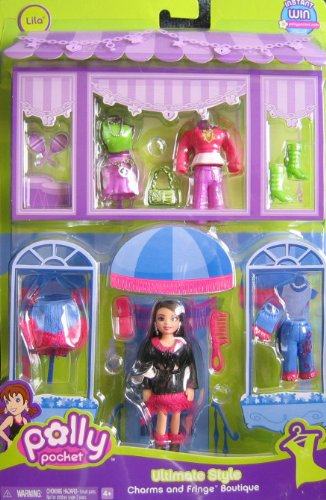 Polly Pocket ULTIMATE CHARMS & FRINGE BOUTIQUE Playset w LILA Doll (2007 Mattel Canada) (Playsets Canada)