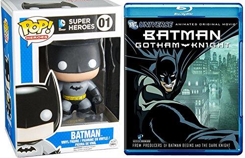 Batman: Gotham Knight Animated Blu Ray + Batman Black 01 DC Comics Funko Pop! Heroes Vinyl Figure movie bundle