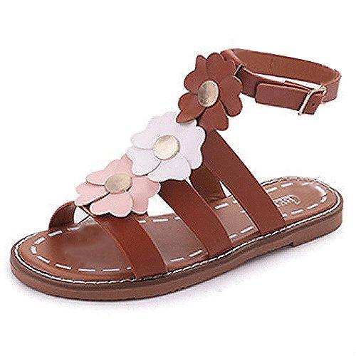 Kingko® Strand Blumen offene Zehenschnalle Dame Sandalen braun schwarz Braun