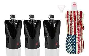 Original Disposable Flask - Black Set of 3+ 16oz USA Flag Flask + Funnel
