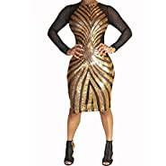 Sexy Plus Size Bodycon Dress Women Sequin Geometric Pattern Dress