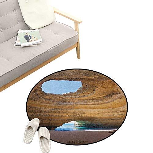Cave Round Area Rug Non-Slip ,Sea Cave of Benagil in Algarve Portugal Idyllic Sandy Rocky Landscape, Living Room Bedroom Coffee Table 23