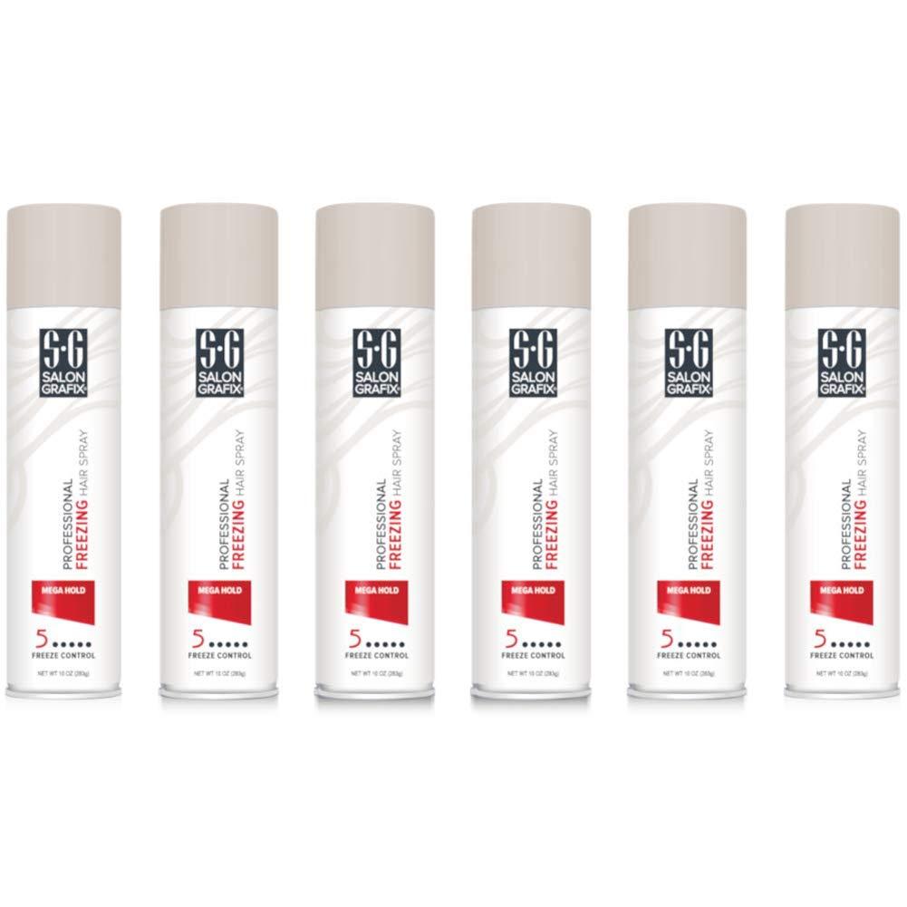 Salon Grafix Hairspray Freezing Mega Hold 10 Ounce (295ml) (6 Pack) by Salon Grafix