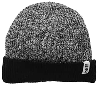 neff Men's Fold Reversible Beanie, Black White Heather/Black, One Size