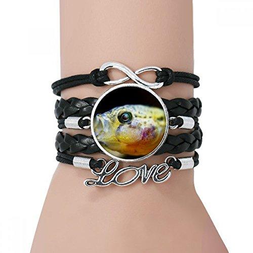 DIYthinker Marine Organism Small Tropical Fish Bracelet Love Black Twisted Leather Rope (Tropical Fish Bracelet)