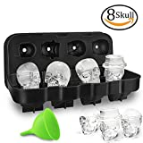 HoneyHolly 3D Skull Ice Cube Mold Lid, Flexible Food Grade Silicone Ice Cube Chocolate Candy Mold Trays, Perfect Kids, BPA Free - 8 Skull Black