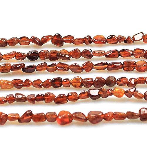 MJDCB Natural Irregular Shape Stone Beads 6-8mm Orange Garnet Gemstone Energy Cured for Jewelry Making Necklaces